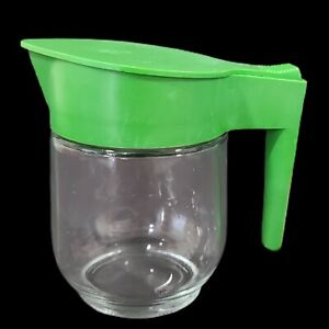 "Vintage Gemco Creamer Clear Glass Green Top 5"" Flip Top Made in USA"