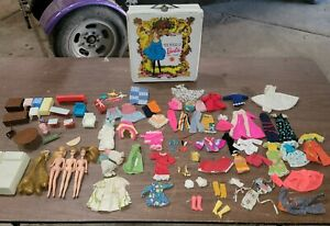 1970's DAWN DOLL'S ASSESSORIES CLOTHES SHOES BOOTS Barbie case