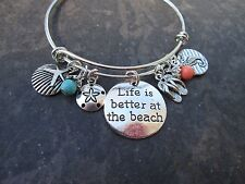 Life is Better at the Beach Adjustable Bangle Bracelet with Flip Flop and Shell