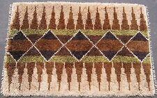 Vintage Swedish Rya rug mid-century modern shag hand knotted 48inx69in #2544