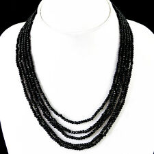 AMAZING 212.00 CTS NATURAL 5 STRAND RICH BLACK SPINEL ROUND CUT BEADS NECKLACE