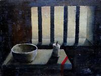 Ancien tableau XIX huile nature morte bougie bol barreaux de prison signé Lupo ?