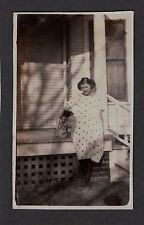 Vintage 1920 Nebraska California Jack Russell Terrier Dog Young Girl Dress Photo
