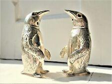 More details for vintage solid silver penguin salt & pepper pots / cellars. novelty. stamped 800