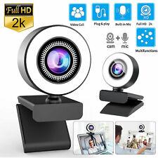 2K Full HD USB Webcam Auto-Focus Web Camera w/Ring Light+Mic for Laptop Desktop