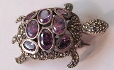 Sterling Silver Marcasite Amethyst Turtle Brooch Oval Faceted Amethyst Stones