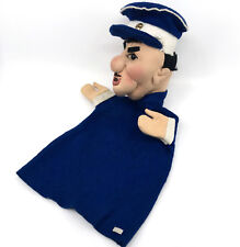 Kersa Policeman 1950s Hand Puppet Blue Felt Soft Sculpture 11in Metal Id Button