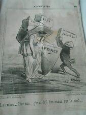 Caricature 1851 - Actualités La France déja bien assez sur le dos Les Pierres