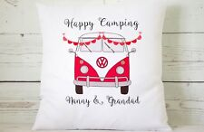 "Personalised red VW Campervan - 16"" cushion cover shabby vintage chic"