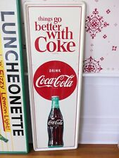 "Vintage 1960's Coca-Cola tin ""Things Go Better with Coke"" sign - all original"