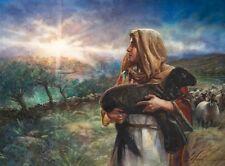 Nathan Greene LIGHT OVER BETHLEHEM 30x40 S/N Canvas Giclee Shepherd Black Lamb