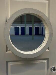 Vintage circular window frame mirror architectural salvage