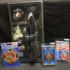 US Marines MTech Ballistic Reaper Knife Patch Challennge Coin Key Ring All New
