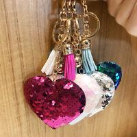 Heart Sequins Handbag Charm Pendant Keychain Bag Keyring Key Chain Jewelry H U_X