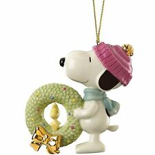 Lenox Snoopy's Christmas Wreath Ornament Figurine Woodstock Peanuts New In Box