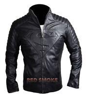 New Superman Smallville Man of Steel Unisex Black Biker Quality Leather Jacket