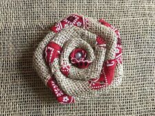 Sweet Natural Burlap and Red Bandanna Flower with Pearl