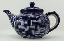 Bunzlauer Keramik Teekanne, Kanne für 1,3Liter Tee, blau/weiß, UNIKAT (C017-32)