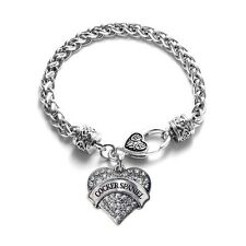 Cocker Spaniel Pave Heart Bracelet Silver Plated Lobster Clasp Crystal Charm