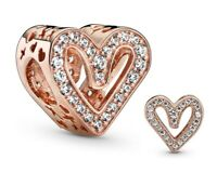 Genuine Pandora ALE R Rose Gold Sparkling Freehand Heart Charm 788692C0