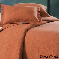 TERRA COTTA Twin, Full Queen, KIng QUILT or SHAM : RUSTIC ORANGE MATELASSE BED