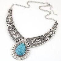 Bohemian Retro Stone Women Pendant Chain Choker Collar Necklace Statement Bib