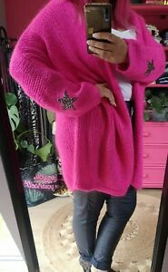 NEW AUTUMN NEON PINK Soft Mohair blend knitted Slouch Star Cardi O/SIZE 10-22