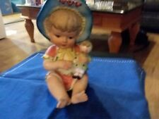 Vintage Bisque Porcelain Hand Painted Piano Girl with Dolly