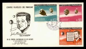 DR WHO 1966 PARAGUAY FDC JOHN F KENNEDY JFK SPACE CACHET COMBO  g02262