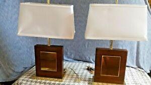 PR MIDCENTURY CUBIST MODERN DARK OAK WOOD & BRASS LONDON LAMPS DESK /TABLE LIGHT