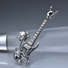 Silver Bass guitar electric musical instrument pendant stainless steel necklace