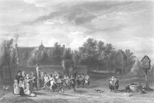 Dancing Party, DUTCH VILLAGE FETE FESTIVAL ~ Antique 1855 Art Print Engraving