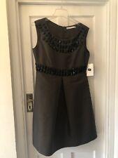 New Zara Woman Brown Silky Dress With Black Bead Embellishments ,L