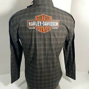 NEW Harley Davidson Men's Medium Long Sleeve Textured Plaid Logo Woven Shirt M