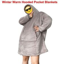Adults Hooded Pocket Blankets One Size Warm Winter Sofa Bathrobe Comfort Roomy