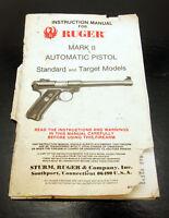 Vintage 1980's Ruger Mark II Automatic Pistol Instruction Manual  Rough Shape