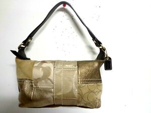 COACH BAG SIGNATURE GOLD PATCHWORK BEIGE BROWN LEATHER SUEDE MINI HOBO PURSE