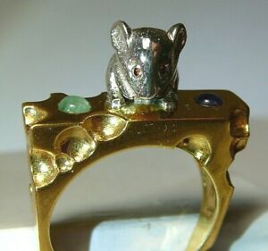 Ring Mousy 24k Yellow Gold-Plate Sterling Silver Natural Red Diamond Amethyst