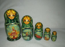Thumbelina 5 Piece Matryoshka Russian Nesting Doll Signed
