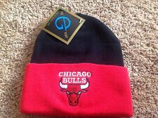 Chicago Bulls Knit NBA Black and Red Cuffed Beanie Hat-BNWT's