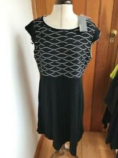 donna ricco black white patterned embroidered 100% merino knit tunic dress xl