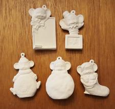 Alberta Xmas Mice #2 Ceramic Bisque Vintage Christmas Tree Ornament 5 Pc Set