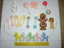 Vintage Lot Plastic Baby Rattles Squeekies Lambs Donkey Telephones Hard Plastic
