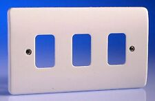 MK Electric Grid Plus K3633 White 3 Gang Moulded Front Plate Cover Light Switch