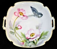 Antique Nippon Hand Painted Pink Flowers Butterfly Candy Nut Bowl Dish Handle