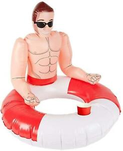 Inflatable Lifeguard Hunk Swim Ring Red & White Pool Toy Drink Holder