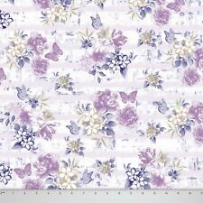 Soimoi White Floral & Butterfly Printed Cotton Fabric 58 Inches Wide By The Yard
