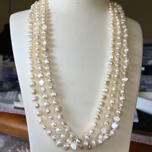 Freshwater Baroque Pearl 7-8mm Natural White Elegant Necklace 180cm AA+ Luster06