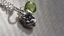 Sterling silver hello kitty Peridot charm pendant