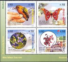 Nepal 2004 Woodpecker/Moth/Rice/Birds/Insects/Plants/Nature 4v blk (n38812)